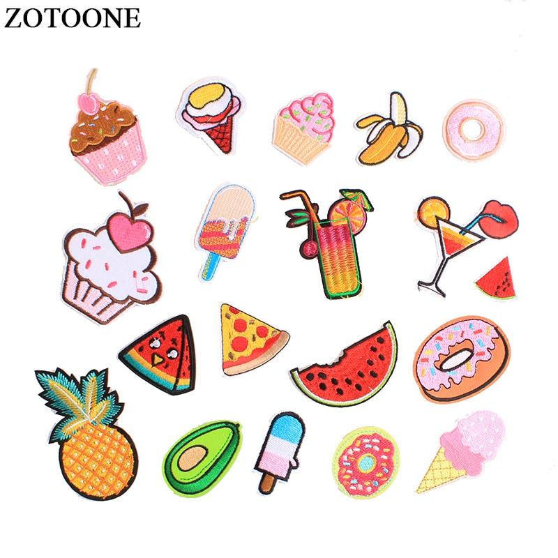 ZOTOONE Eisen Auf Obst Lebensmittel Patches Anwendungen Für Mädchen Kleidung Applique Bestickt Avocado ananas Patch Für Rucksack DIY E