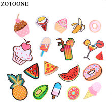 ZOTOONE Iron On Fruit Food Patches Applications For Girl Clothes Applique Embroidered Avocado pineapple Patch For Backpack DIY E