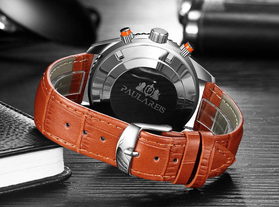 HTB14pFUXAKWBuNjy1zjq6AOypXan Men Automatic Self Wind Mechanical Stainless Steel Strap James Bond 007 Style Orange Blue Black Dial Bezel Classic Watch
