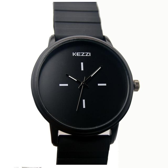 Kezzi Brand Black White Silicone Watches Student Women Men Sport Quartz Watch Couple Ultra Slim Casual Watch Relojer Feminino 3