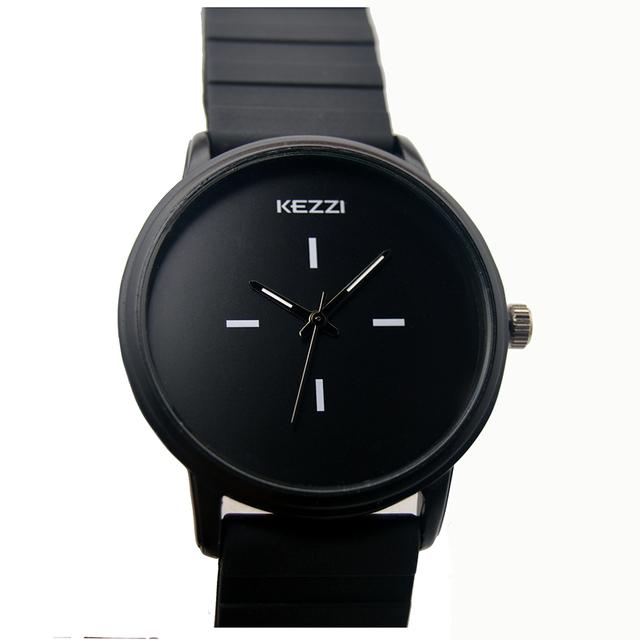 Kezzi Brand Black White Silicone Watches Student Women Men Sport Quartz Watch Couple Ultra Slim Casual Watch Relojer Feminino