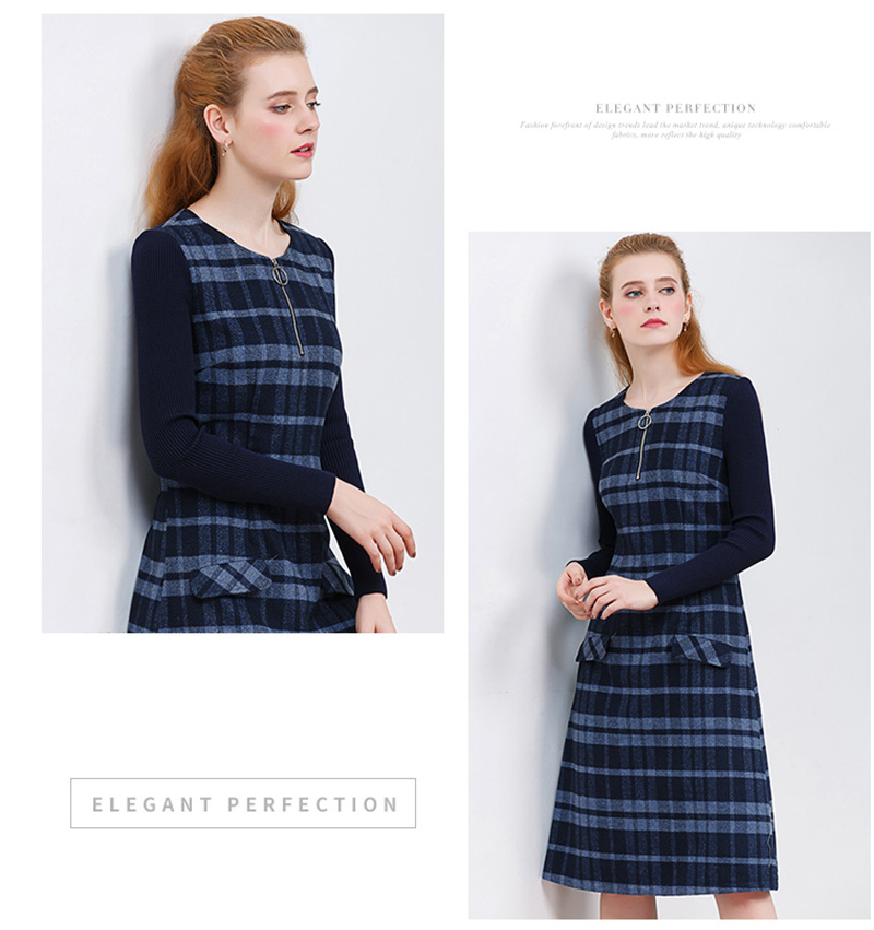 ONLY PLUS Ladies Woolen Dress for Women Knit Long Sleeve Mosaic High Quality Elegant A-line Stripe Dress Winter 2018 35