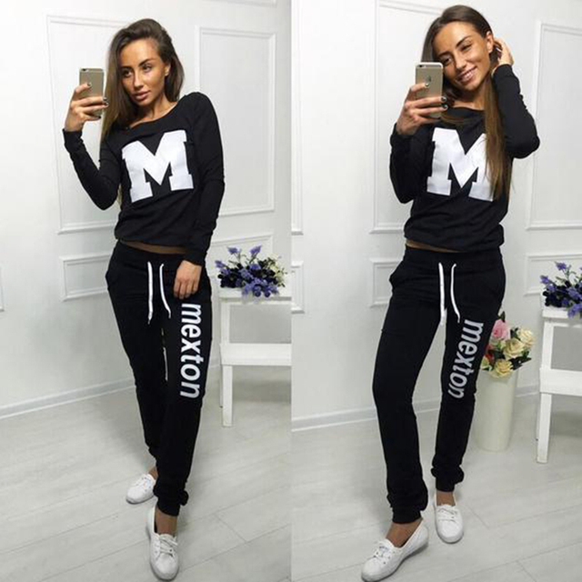 Women Tracksuit 2016 Autumn Fashion Ladies M Letter Pattern Sweatsuit  Printed O-neck Long Sleeve Casual Suit Two Pieces Sets ef4657221d