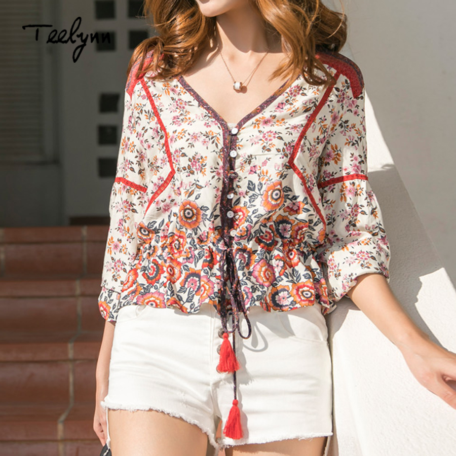 96502ea19b3a9 Teelynn Boho blouse shirts 2018 floral print rayon blouses drawstring waist long  Sleeve Bohemia womens tops and blouses Camisas
