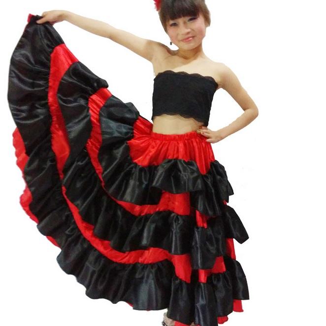 Spanish Costume Girl Long Red Flamenco Style Dress Ballroom Skirt