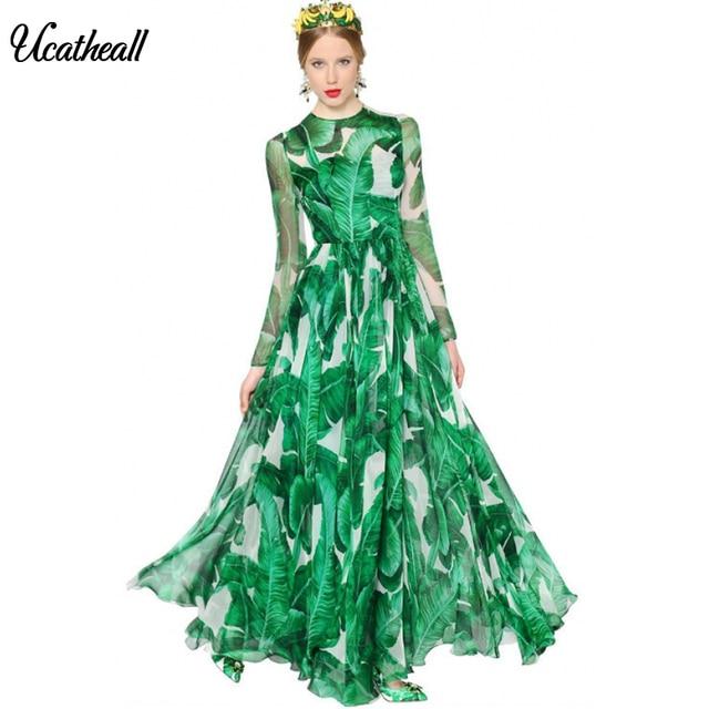 Женское летнее платье макси с банановым листом Ucatheall, длинное платье с круглым вырезом, Зеленое Шифоновое Вечернее Платье с принтом банана, vestidos