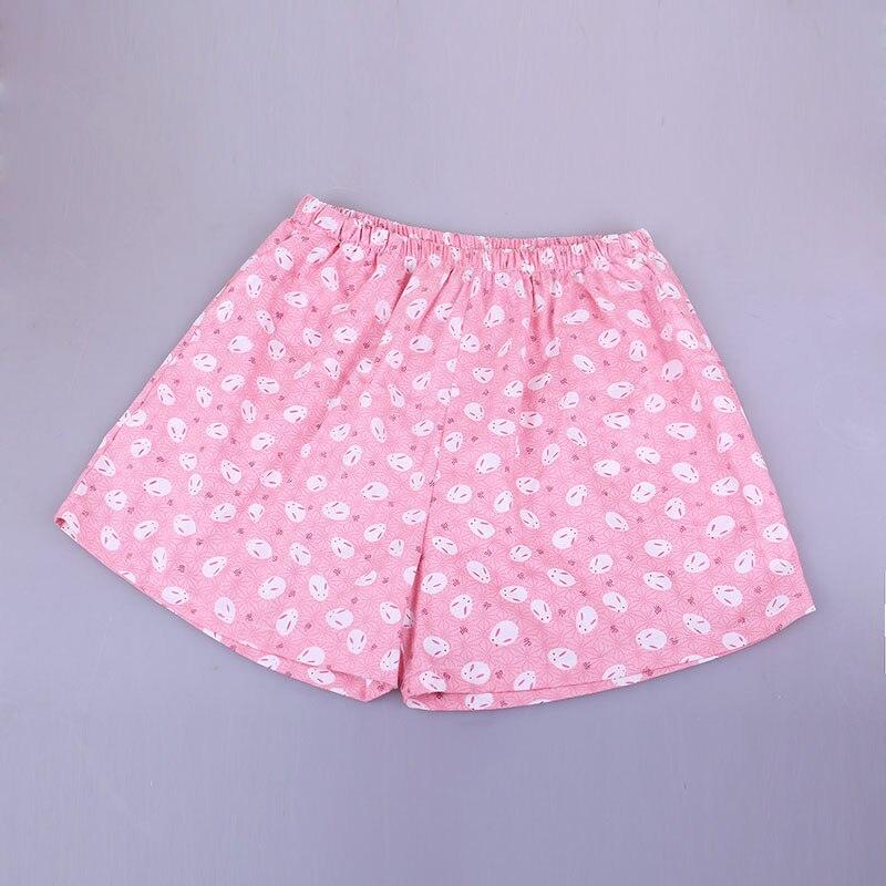 UNIKIWI. Милые летние хлопковые Пижамные шорты для сна, женские свободные пижамные штаны с эластичной резинкой на талии размера плюс M-XL отдыха. 21 цвет - Цвет: 002