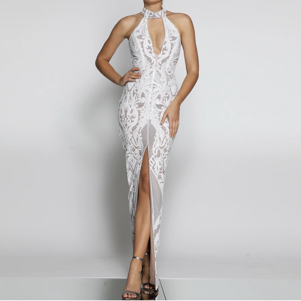 Stretchy Sexy Halter Hollow Out Maxi Dress Split Front Slit Leg Sleeveless Patchwork Gold White Sequined