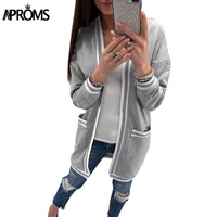 Aproms White Striped Knitted Long Blouse Womens Long Sleeve Pockets Cardigans Casual Street Fashion Tops Outwear