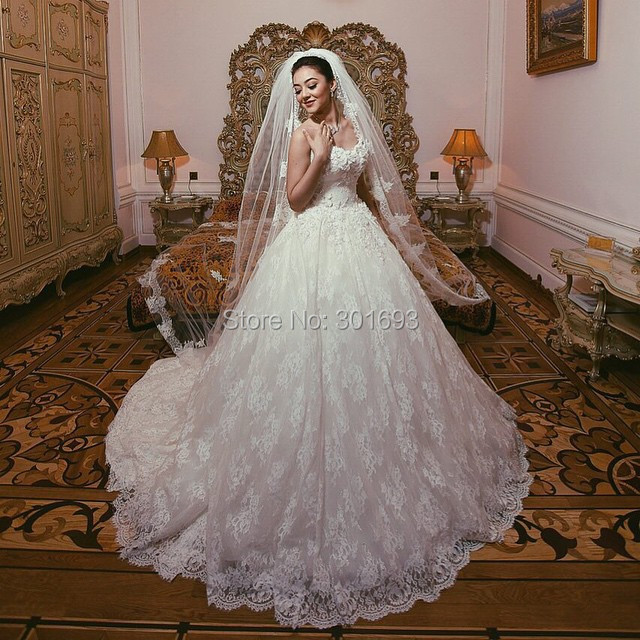 Online Shop Oumeiya OW507 With Long Veil Sweetheart Ball Gown Alibaba Lace Wedding Dresses China