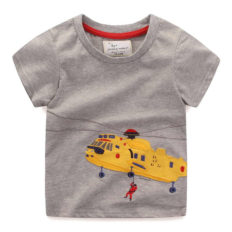 New baby boys and girls short sleeve t shirt kids new style cartoon summer t shirt with applique a Helicopter jumping meters 5x7ft vinyl photography background computer printed children baby photography backdrops for photo studio gray background l 605