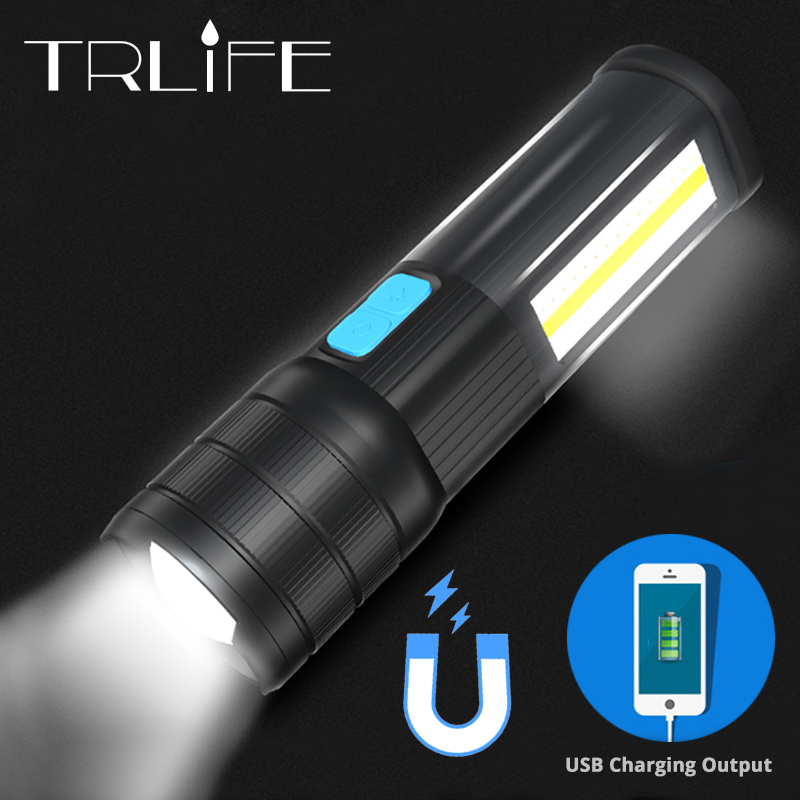 5200mAh LED Flashlight Multifunction T6/L2/P90 Torch With COB Red White Blue Floodlight With Strong magnet as Phone Power Bank
