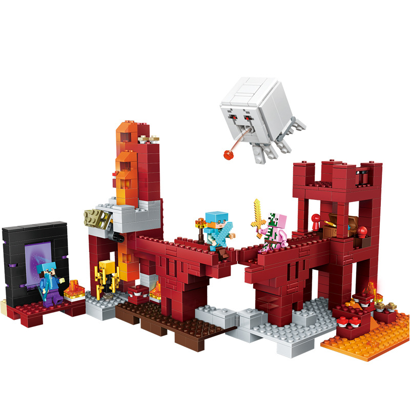 Model Building Knowledgeable 589pcs Childrens Building Blocks Toy Compatible Legoing City Minecrafted Underground Fortress Figures Bricks Birthday Gifts