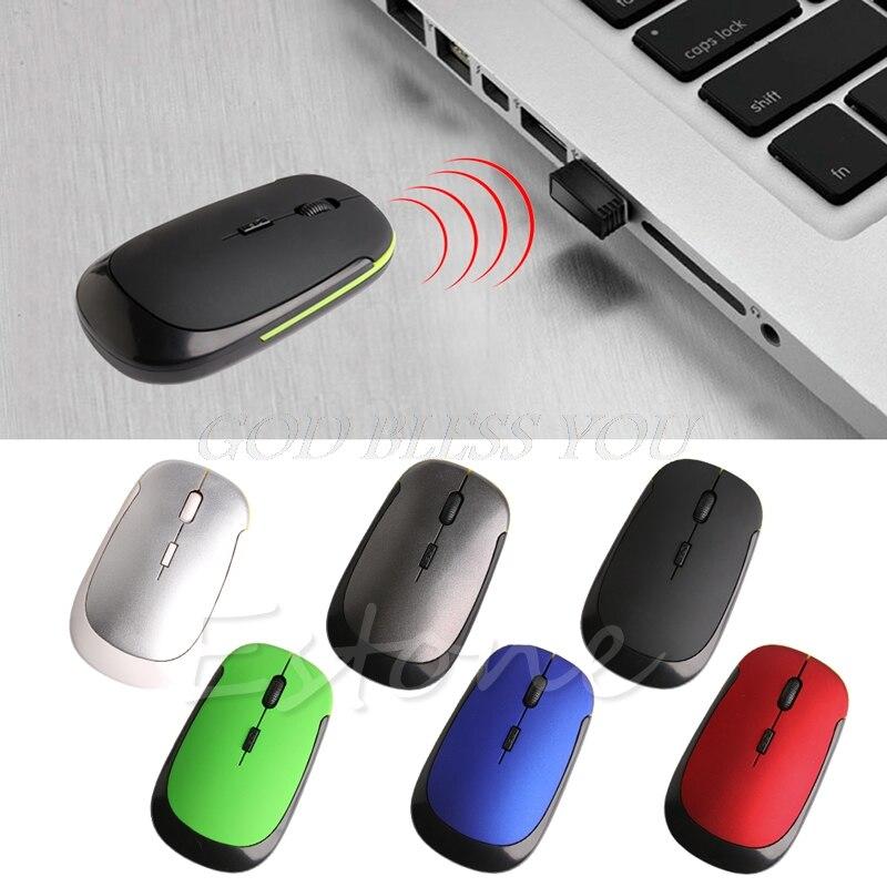 Ультра-тонкий мини USB 2,4G 2,4 GHZ беспроводная оптическая мышь Мыши 1600 DPI