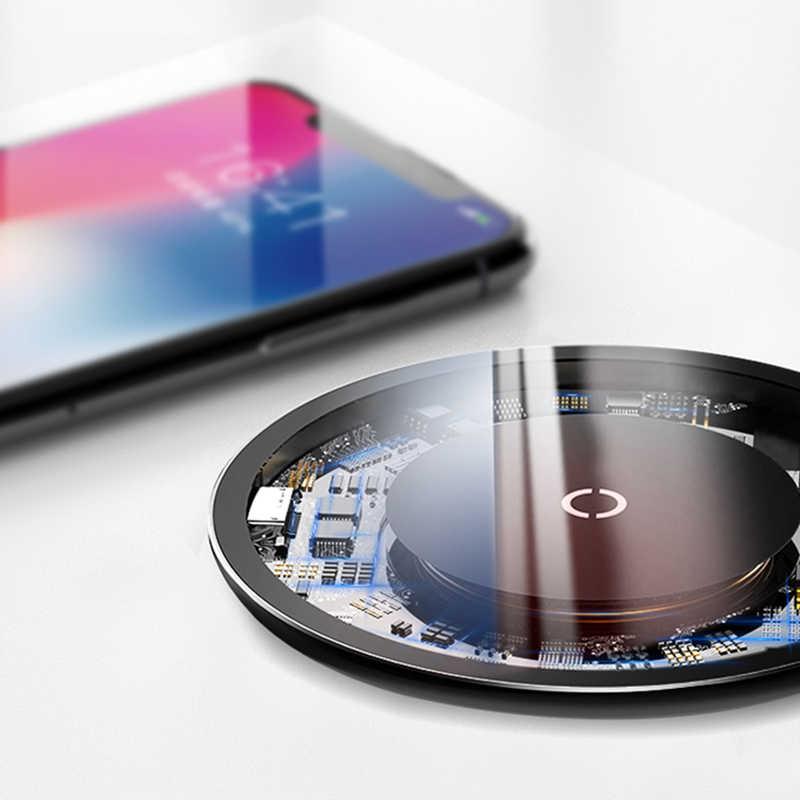 Ультратонкое Беспроводное зарядное устройство Qi 10 Вт для iPhone X XR XS Max 8 Plus видимое