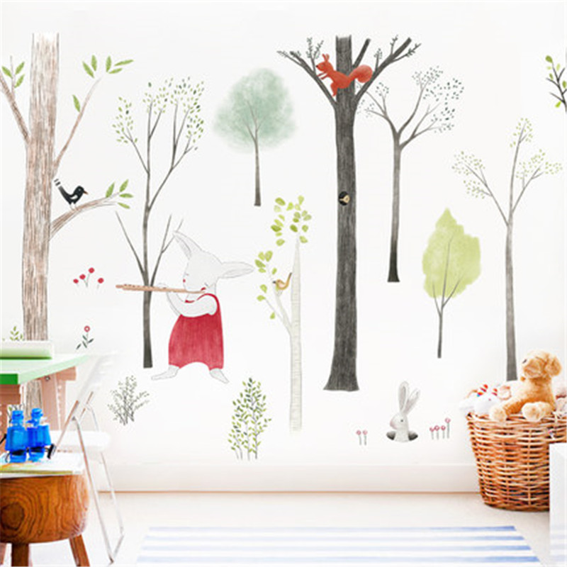 87-140cm-Large-Nordic-Style-Animal-Kids-Wall-Stickers-Cartoon-Tree-Forest-Children-Baby-Room-Wall (5)
