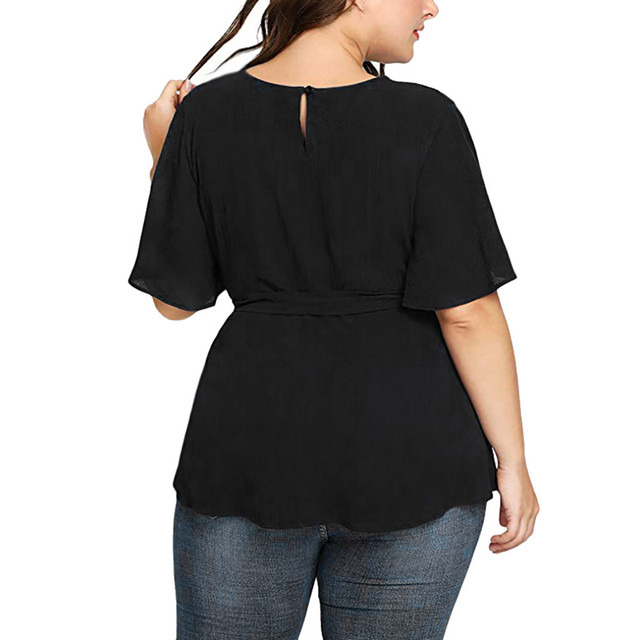Plus Size Blouse Women's Solid Short Sleeve Shirt Solid Color Belted Knot Blouse Tops Women Casual Loose Shirt Chemise Femme /PT 6