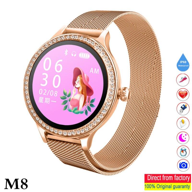 2019 M8 zegarek damski Smart watch IP68 wodoodporny pani Smart Monitor tętna Fitness Tracker opaska do monitorowania stanu zdrowia PK KW10 B36 pasek w Inteligentne zegarki od Elektronika użytkowa na  Grupa 1