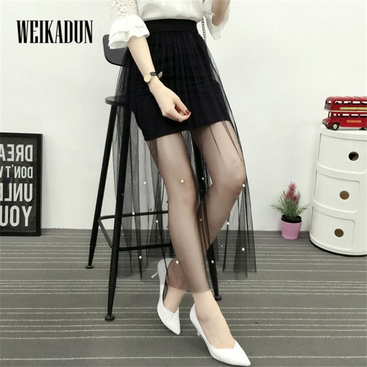 Summer Women Sexy Lace mesh pleated Skirts beading Casual Mesh tulle skirt Hollow Out long Pencil Elegant Black White Skirt 46