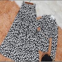 2018 New Spring Summer Europe Printing Long Sleeved Shirt Women S Slim Waist Western Style Skirts