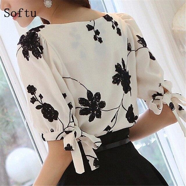 Softu Fashion Women Shirt Blouse Summer Tops Chiffon Casual Shirt O Neck Half Sleeve Floral Printing Female Blusas Clothing