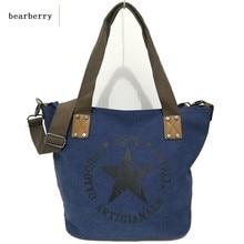 Big star impresión de la lona de la vendimia bolsos de hombro de múltiples funciones de las mujeres viajan totalizador del bolso cartas grandes bolsos mochilas de lona