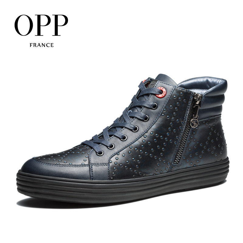 OPP High Top Men boots 2017 Genuine Leather Men Shoes Dot Leather Winter Boots men Zip Metal Style Shoes Ankle Boots for men focus on grammar 4 an integrated skills approach cd rom