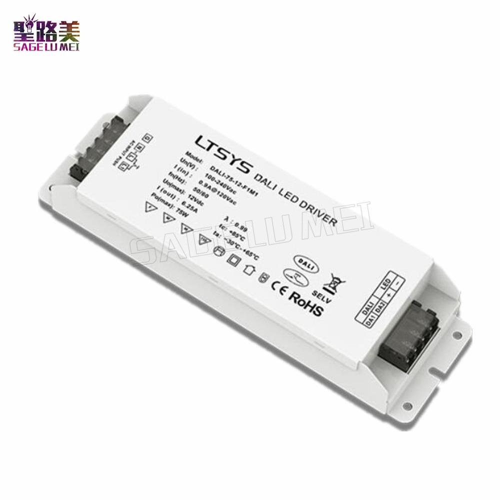 Free shipping LTECH DALI-75-24-F1M1 led power AC100V-240V input DC 24V 3.1A 72W output DALI PUSH DIM CV led DALI Dimming Driver цена