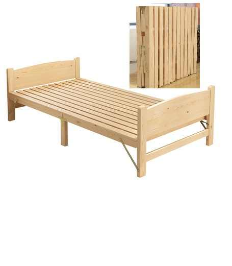 Solid wood folding bed single double bed adult lunch break 1.2 m children's board bed wooden bed cot