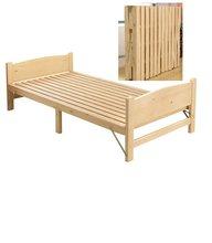 Cama dobrável de madeira sólida, cama de casal adulto almoço de madeira