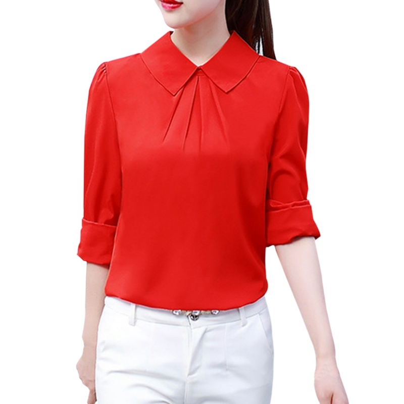 2018 2018  Women Tops Blouses Shirts  New Fashion Top Femme Turn-Down Collar Long Sleeve White Blouse