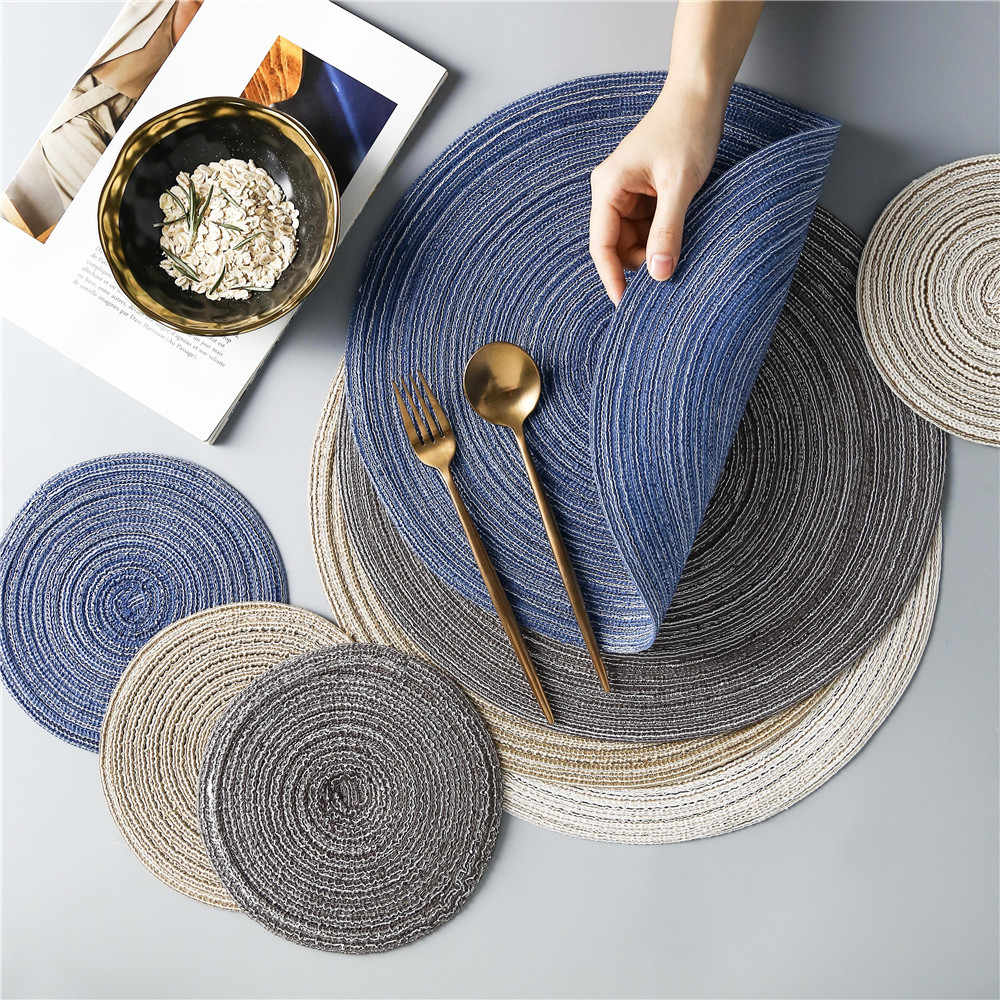Round Linen Weave Placemat For Dining Table Tableware Pad Table Mat Household Waterproof Washable Placemats Bowl Coaster 1pcs