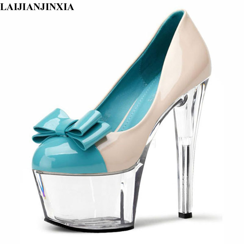 LAIJIANJINXIA New Spring/Autumn Stiletto <font><b>17cm</b></font> thin <font><b>high</b></font> <font><b>heels</b></font> <font><b>sexy</b></font> Nightclub pumps women's wedding shoes zapatos mujer image