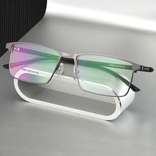 P9960 남자 티타늄 합금 안경 프레임 남자 안경 IP 전기 도금 합금 소재, 전체 테두리 및 하프 림