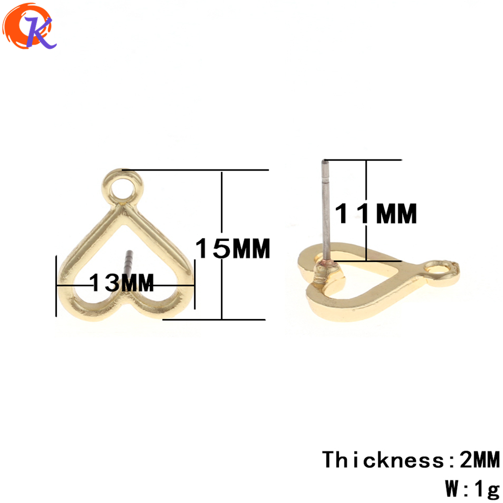 Cordial Design 100Pcs/Lot 13*15MM Jewelry Accessories/Jewelry Making/Gold Heart Shape /Earrings Base Parts/Earring Findings