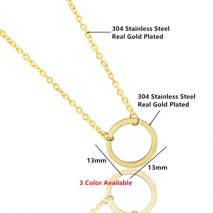 Винтажное минимальное изящное круглое ожерелье для женщин из нержавеющей стали Золотая цепочка геометрическое Карма круглое ожерелье ювелирные изделия вечерние подарки
