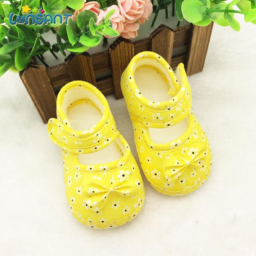LONSANT 2018 Kids Baby Bowknot Printing Newborn Cloth Shoes E1120