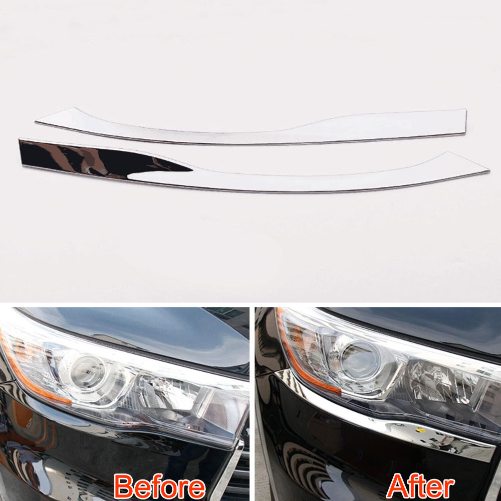 2Pcs Car Front Headlight Eyebrow Eyelash Head Lights Lamp Eyelid Strip Trim Cover Decoration for Highlander 2015 Car styling pu grey front lip chin spoiler bumper guard for volkswagon vw golf 4 iv mk4 standard 1998 2004 non gti car styling