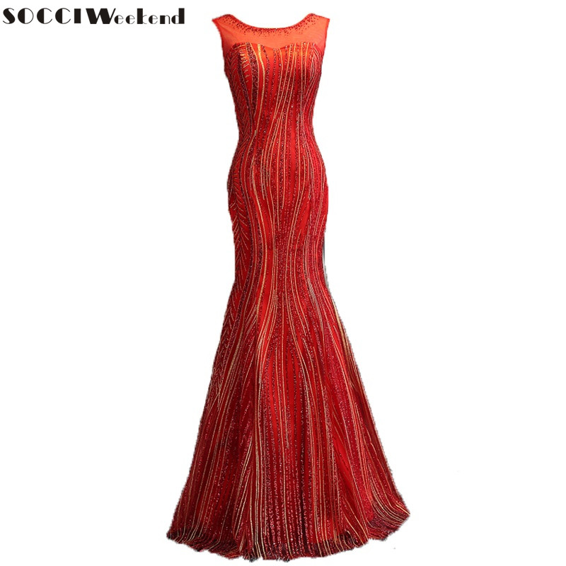 SOCCI Weekend Sequined Mermaid   Evening     Dresses   Long Beading Gowns Open Lace Up Back Formal Wedding Party   Dress   Robe de Reception