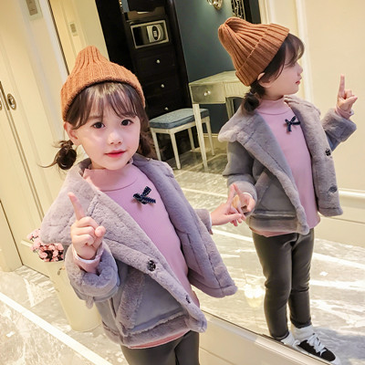 Winter Baby Girl Coats Children Suede Fake Fur Coat Jacket Kids Autumn Velvet Outerwear Toddler Boy Leather Long Sleeve Outfits