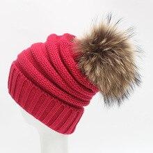 2017 зимние меховые помпон Hat для женщин кашемировая шерсть хлопок Hat Большой натуральный мех енота помпон шапочки шапка лисий мех промашка шляпы B35