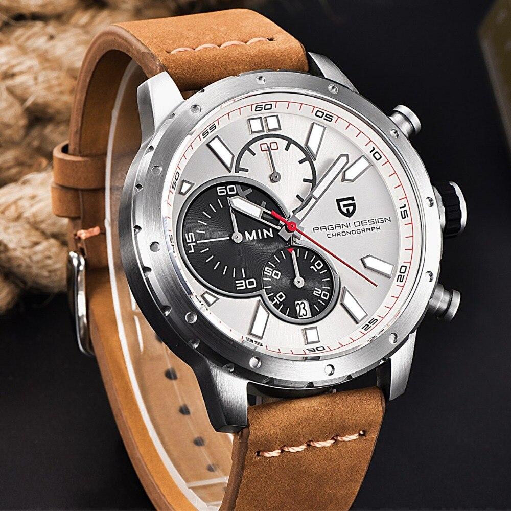 Relogio masculino PAGANI DESIGN hommes montre haut à la mode marque chronographe montre étanche Quartz cuir montres Sport militaire