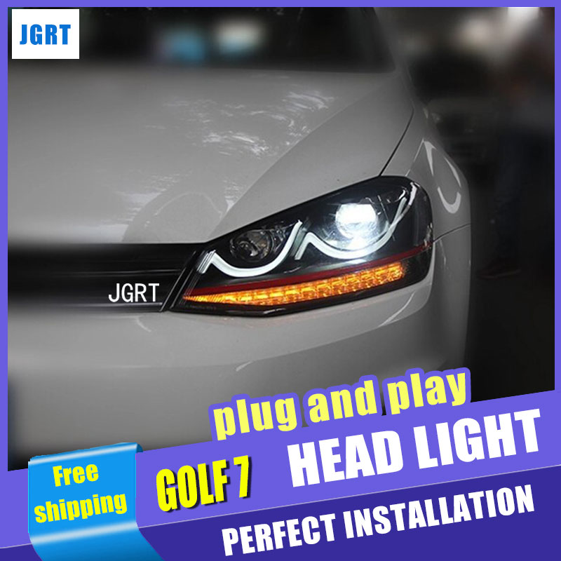 Car Styling VW Golf7 headlight assembly 2013-2015 VW Golf 7 led headlight flash turn signal drl H7 with hid kit 2pcs. hireno headlamp for volkswagen golf7 golf 7 mk7 2014 headlight headlight assembly led drl angel lens double beam hid xenon 2pcs
