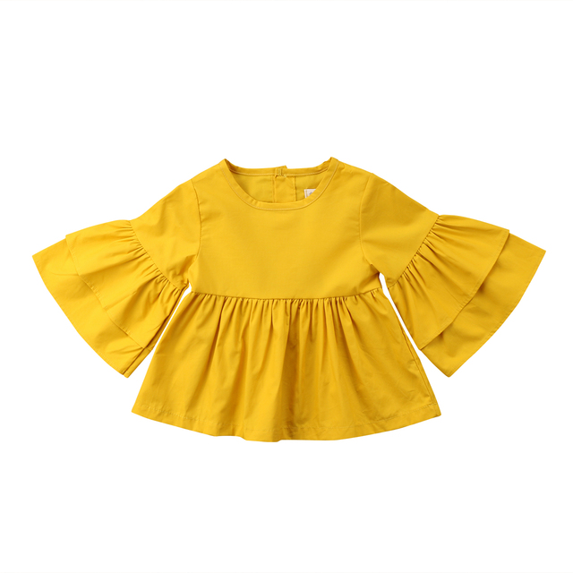 a00d9177 2018 Kids Baby Girls Toddler Butterfly Long Sleeve Casual Tops Yellow T-shirt  Blouse Shirt Cute Cotton Dress