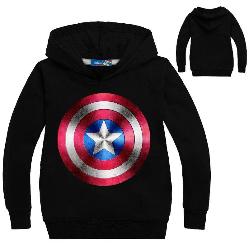 Childrens Coat Captain America Spring Clothing Boys Coat Shield Cartoon Print Sweater Multi-color Sweatshirt Children Clothes