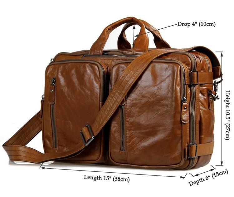 Висококачествена многофункционална туристическа чанта за пътуване с раница от 100% естествена кожа 7014B