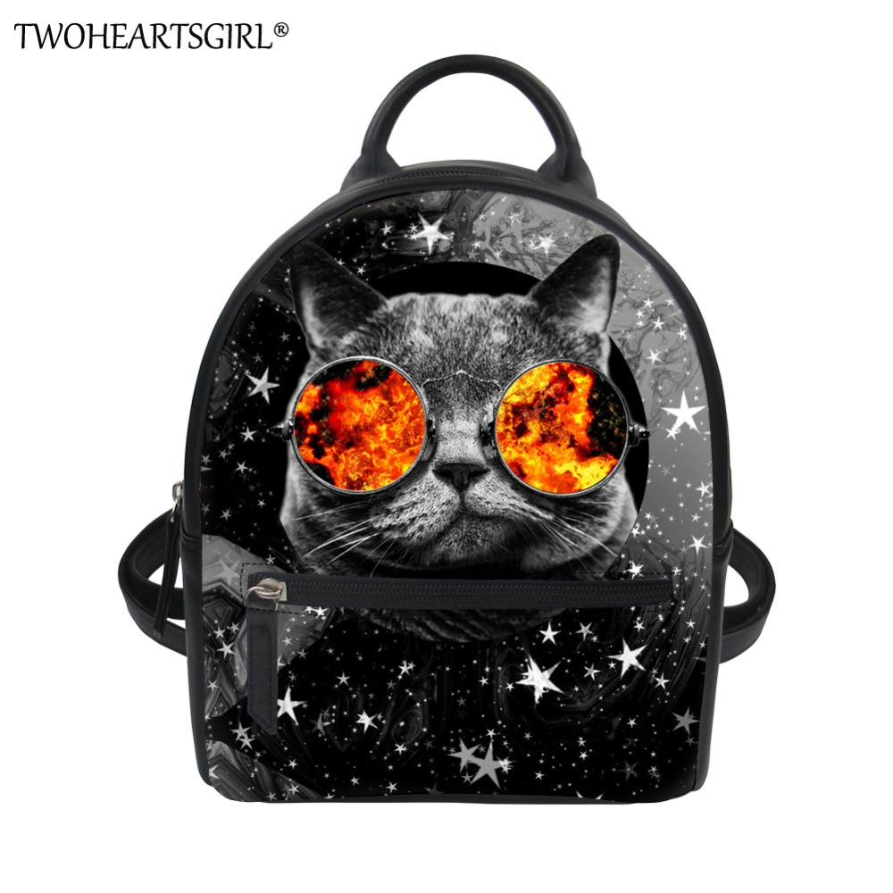 TWOHEARTSGIRL Lovely Cat Print Leather Backpack for Women Classic School Shoulder Bags Teen Girls Casual Cute Mini Bagpack