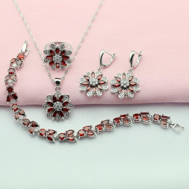 Sistemas de La Joyería Plateado Granate Rojo Artificial Pendientes de Piedra Para Las Mujeres Pulseira Corrente Collier Colgante Anillo Caja de Regalo