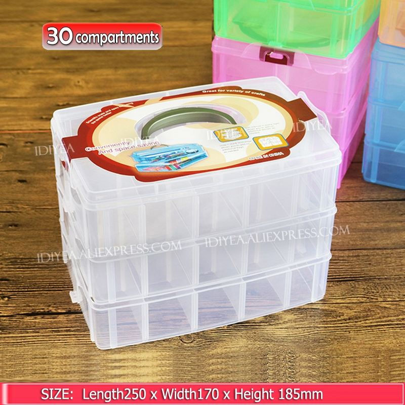 Big Stack Box Accessory Storage 3 layers adjustable slots removable dividers for DIY Nail Jewelry beads home Organizer container|accessories toilet|accessories missing|accessories wedding - title=