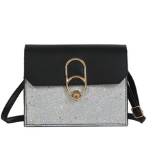 купить New Women's Fashion Retro Handbags Hit Color One Shoulder Sequins Casual Messenger Bag Lock Small Square Bag 2019 по цене 209.21 рублей